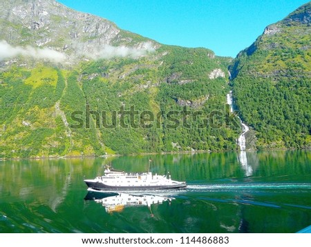 Geirangerfjord, norway, Scandinavia, listed as a UNESCO World Heritage Site - stock photo