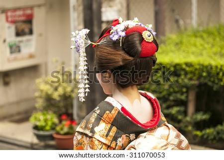 Geisha in Kyoto - stock photo