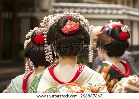 Geisha in Kyoto, Japan, August 2014 - stock photo