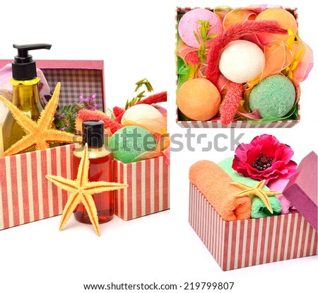 Gel bottles, bath bomnbs with starfishes in gift boxes isolated on white collage - stock photo