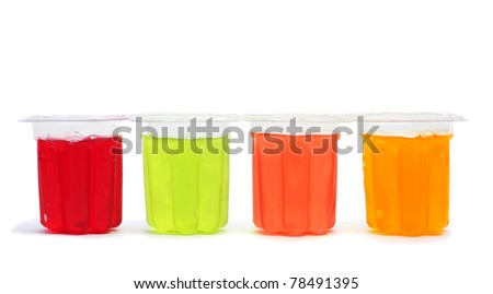 gelatin of different colors on a white background - stock photo