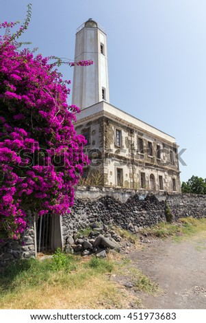 Gelso Lighthouse, Vulcano, Aeolian Islands, Italy - stock photo
