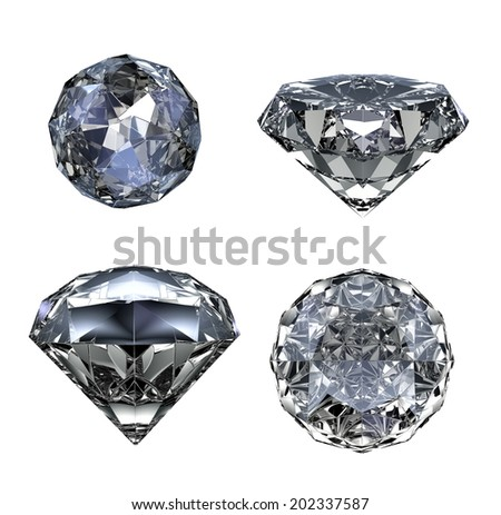 Gem stone set - isolated on white background - stock photo