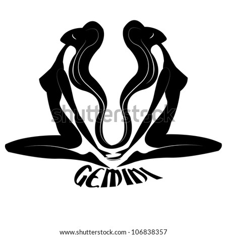 Gemini/Elegant zodiac signs silhouettes isolated on white - stock photo