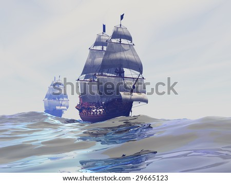 GEMINI - Two tall sailing ships ply the high seas. - stock photo