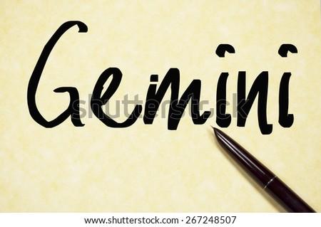 gemini word write on paper  - stock photo