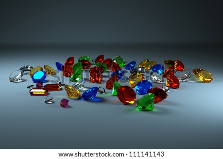 Gems front view, on a gray background - stock photo