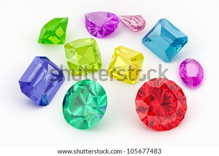Gemstones of various form and color isolated on white - stock photo