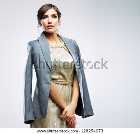 Gender equality clothing concept. Woman dressed male suit. Feminism concept - stock photo