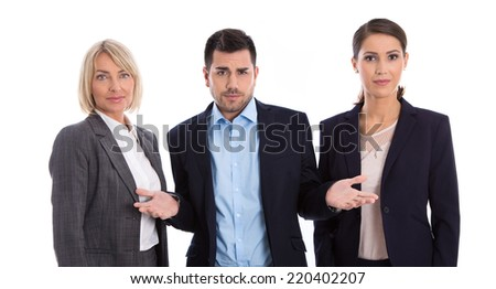 Gender equality concept: team of female and male business people isolated. - stock photo