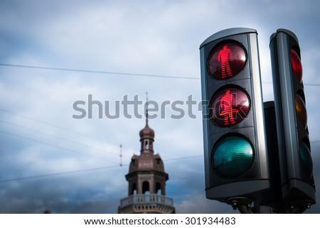 Gender Friendly Traffic Light, Copenhagen, Denmark - stock photo