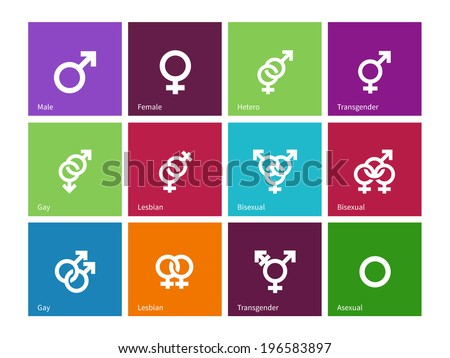 Gender identities icons on color background. - stock photo