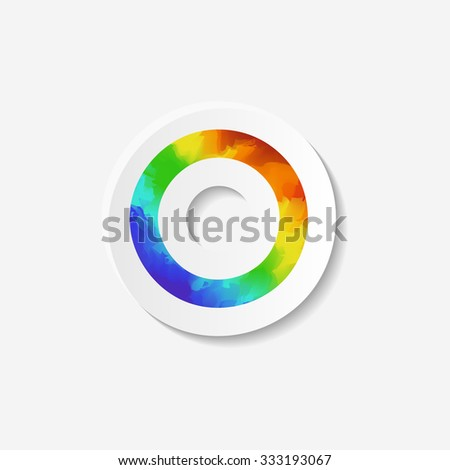 Gender identity icon. Asexual symbol. Sticker with watercolor effect. Raster copy of vector file. - stock photo