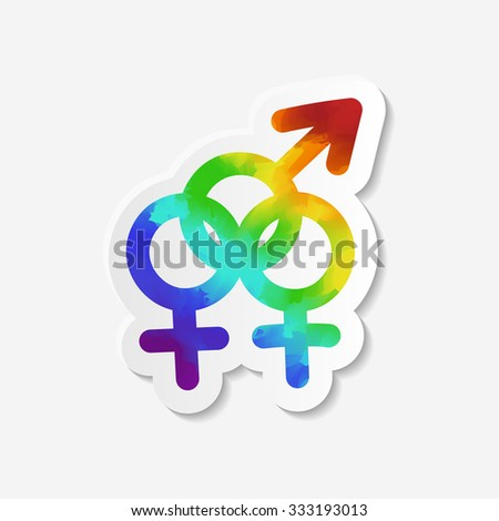 Gender identity icon. Bisexual symbol. Sticker with watercolor effect. Raster copy of vector file. - stock photo