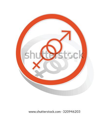 Gender symbols sign sticker, orange circle with image inside, on white background - stock photo