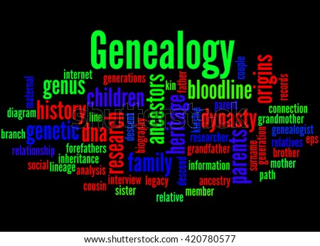 Genealogy, word cloud concept on black background.  - stock photo