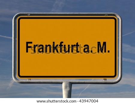 General city entry sign of Frankfurt am Main, Germany - stock photo