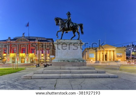 General Dufour statue, grand opera and Rath museum at place Neuve by night, Geneva, Switzerland - stock photo
