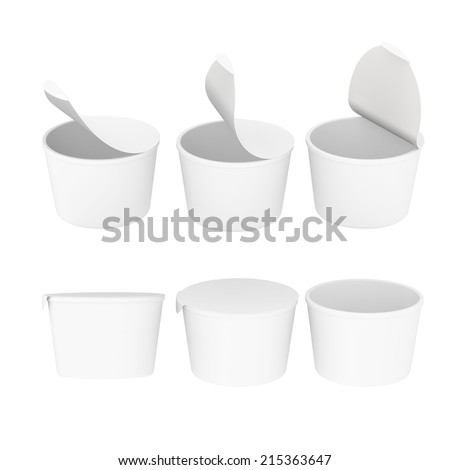 General food  cup  packaging for variety product like dairy , instant  noodle or desert,  with white blank label.  Template for  your design or artwork, clipping path included  - stock photo