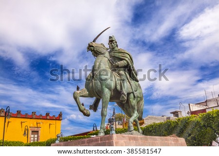 General Ignacio Allende Statue Plaza Civica San Miguel de Allende Mexico. General who first led revolt against Spain in 1810 and considered a hero of the Mexican War of Independence - stock photo
