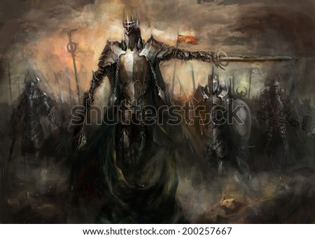 general leading his army in war - stock photo