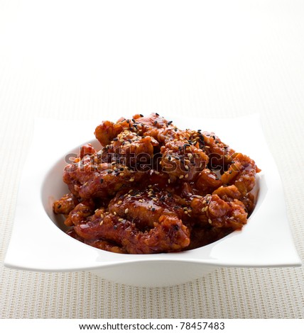 General tso chinese chicken meal on white. - stock photo