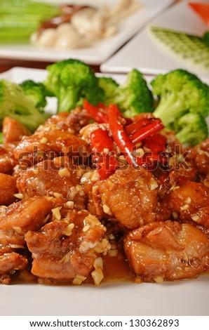 General Tso's chicken  - A Popular Taiwan food - stock photo