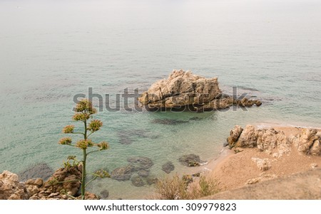 General view of a beach on the Costa Brava in Spain - stock photo