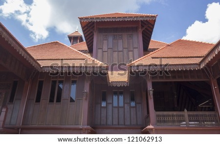 ... view of a traditional wooden mosque (masjid) in Malaysia - stock photo