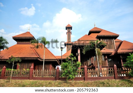 General view of a traditional wooden mosque (masjid) in Malaysia  - stock photo