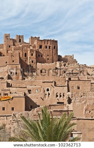 General view of ancient Ait Ben Haddou fortified village at Morocco - stock photo