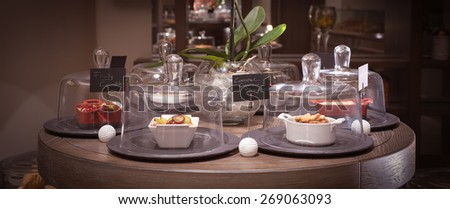 General view of confectionery shop. Shallow DOF and marsala toned - stock photo