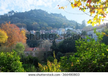 General view of portuguese romantic town of Sintra - stock photo