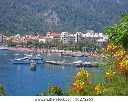 General view of sea resort  Icmeler in Turkey. - stock photo