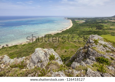 General view of the coastline at Cape Hirakubo-saki on Ishigaki Island in Okinawa Prefecture, Japan. - stock photo