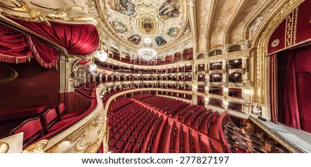 General view of the hall. The Odessa National Academic Theater of Opera and Ballet in Ukraine. Central Golden Hall. 06 Jan 2014 - stock photo