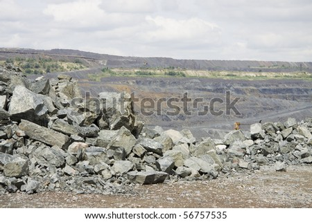 General view of the iron ore opencast mining - stock photo