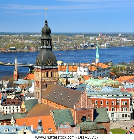 general view on Riga, Latvia - stock photo