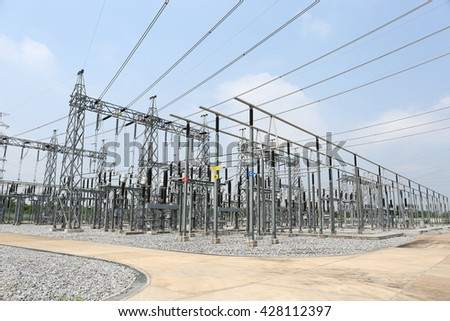 general view to high-voltage substation with switches and disconnects - stock photo