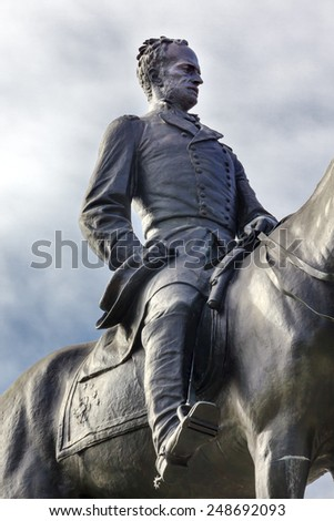 General William Tecumseh Sherman Equestrian Statue Civil War Memorial Pennsylvania Avenue Washington DC.  Statue dedicated 1903, artist Carl Rohl-Smith. - stock photo