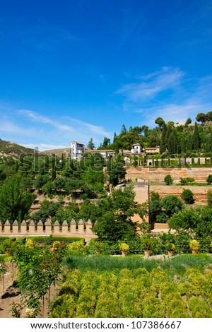 Generalife palace and garden in Alhambra, Granada, Spain - stock photo