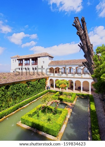Generalife Palace in Alhambra, Granada, Andalusia, Spain - stock photo
