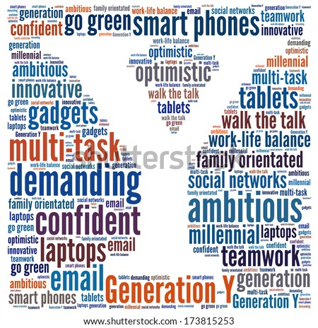 Generation Y in word collage - stock photo