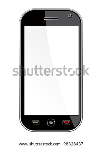 Generic black smart phone isolated over white with blank space for your own design or image. Useful for mobile applications presentation. - stock photo