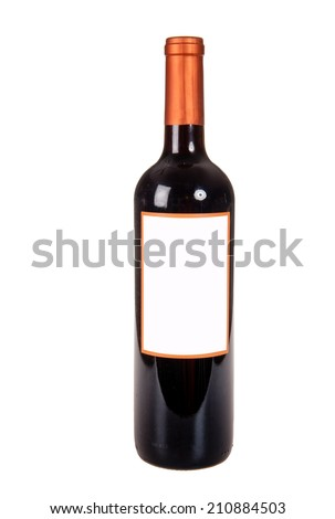 Generic bottle of red wine isolated on white ready for you to add your own label - stock photo