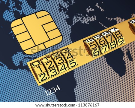 Generic credit card with combination lock as identification number - stock photo