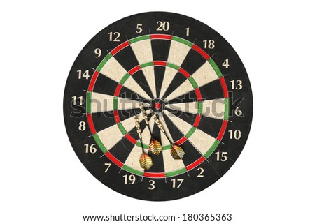 Generic dartboard with three darts on white background - stock photo