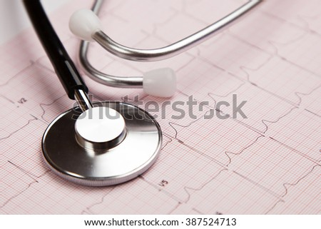 Generic ficticious medical report and cardiogram - stock photo