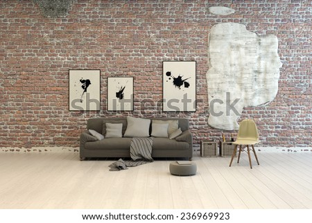 Generic grey sofa with comfortable cushions and footstool against a brick wall with abstract artwork in a large light room with white painted wooden floorboards. 3D Rendering.  - stock photo