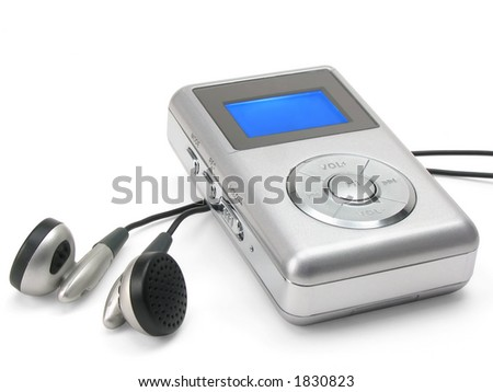 Generic mp3 player on white background (clipping path included) - stock photo